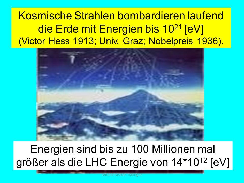 Kosmische Strahlen bombardieren laufend die Erde mit Energien bis 1021 [eV]